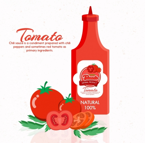 tomato sauce advertisement red bottle fruit icons decor