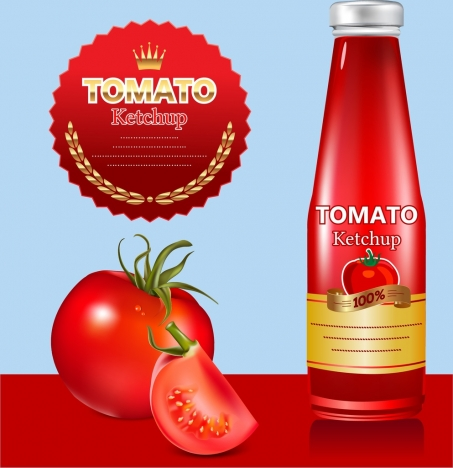 tomato sauce advertisement red design bottle seal decoration