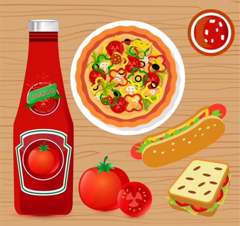 tomato sauce advertising flat design fast food icons