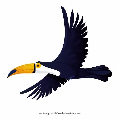 toucan bird icon flying sketch flat design