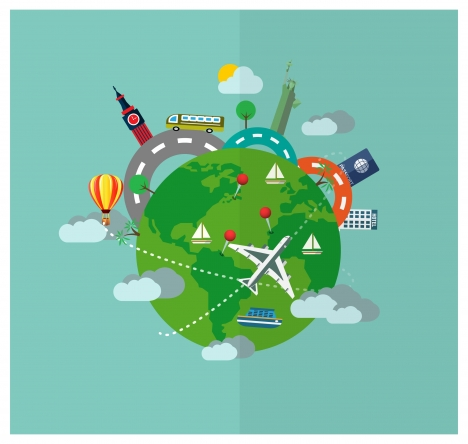 tourism vector illustration with airplane and earth
