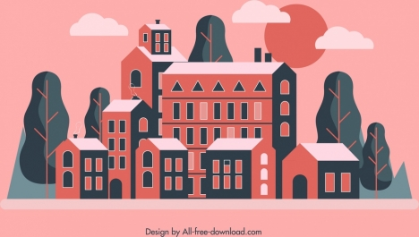 town painting classical dark red design