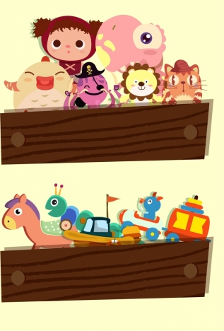 toys icons background colored cartoon design