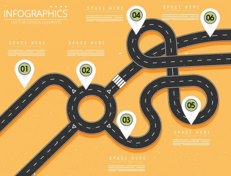 traffic infographic template curved road location mark decoration