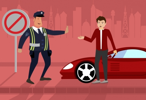 Traffic police job drawing men icon colored cartoon vectors stock in ...