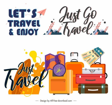travel banner design elements texts personal stuffs sketch
