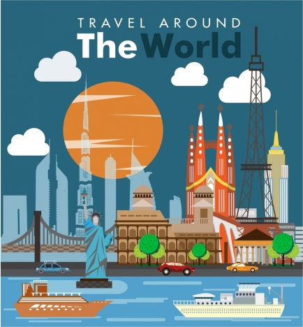 travel banner design various famous symbols in colors