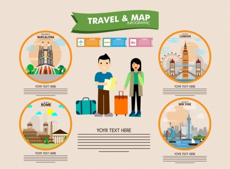 travel banner with famous symbols infographic style