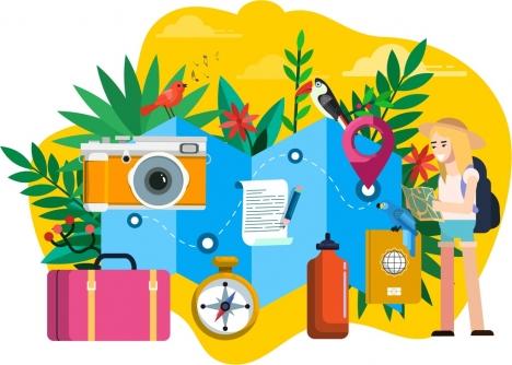 travel design elements tourist suitcase camera compass icons