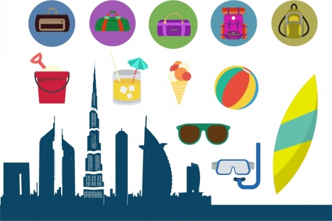 travel design elements with various symbols and styles