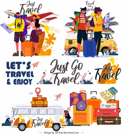 travel icons colorful classic decor cartoon sketch