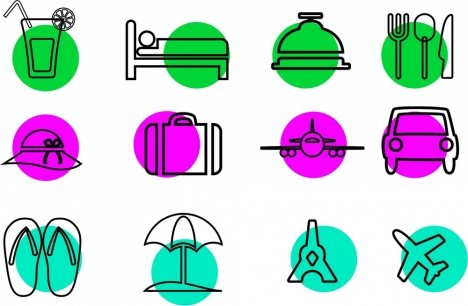 travel icons design various symbols in sketch style