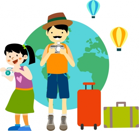 travel people icons design camera and luggages style