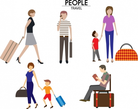 travelling people icons design with various gestures isolation