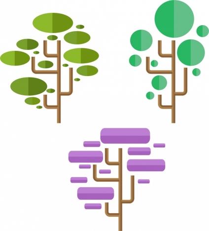 tree design sets colored geometric style