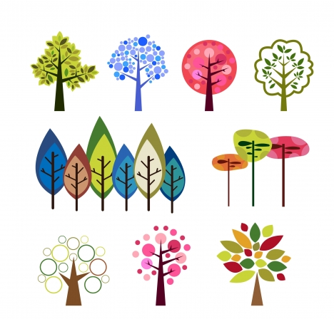 trees design with colorful flat illustration