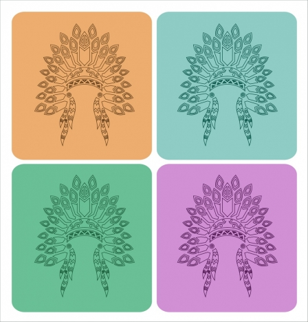 tribal hat icons collection traditional style outline