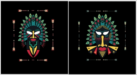 tribal mask templates colorful design scary effect