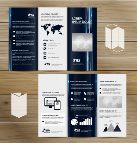 trifold brochure mockup realistic rendering of trifold brochure background 3d illustration abstract business tri fold leaflet flyer vector design set three fold presentation layout a4 size