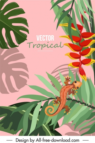 tropical background flora leaves gecko sketch colorful classic