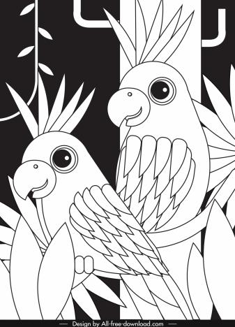 tropical jungle painting black white parrots sketch