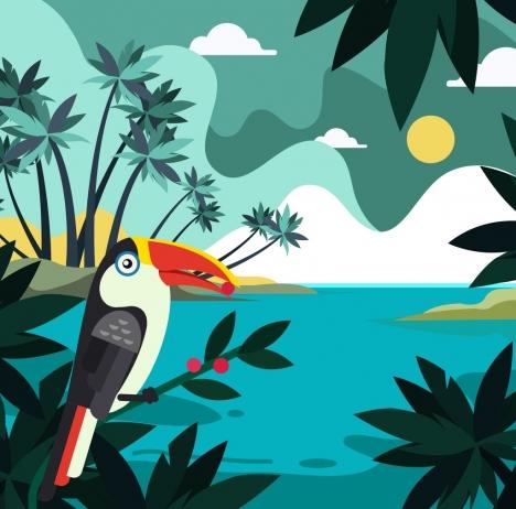tropical landscape background coconut sea parrot icons