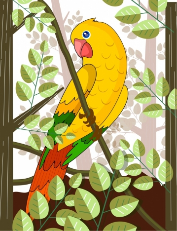 tropical painting parrot leaf icons colorful decor