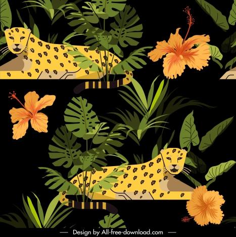 tropical wildlife pattern leopard hibiscus sketch dark design
