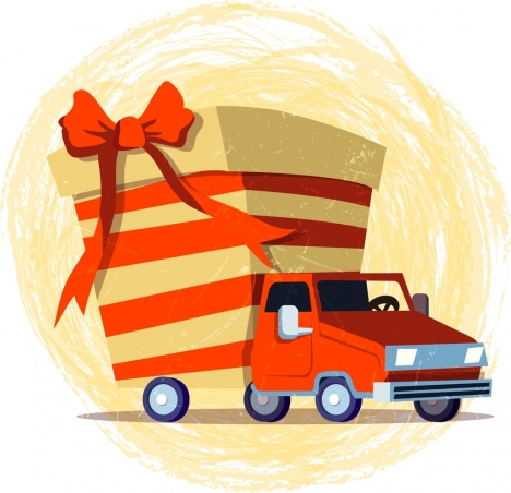 truck delivery advertising present box icon grunge decor