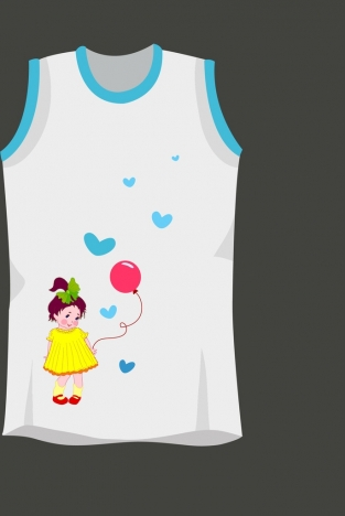 tshirt template childhood style cute young girl decoration