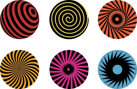 twist circles icons collection multicolored delusion design