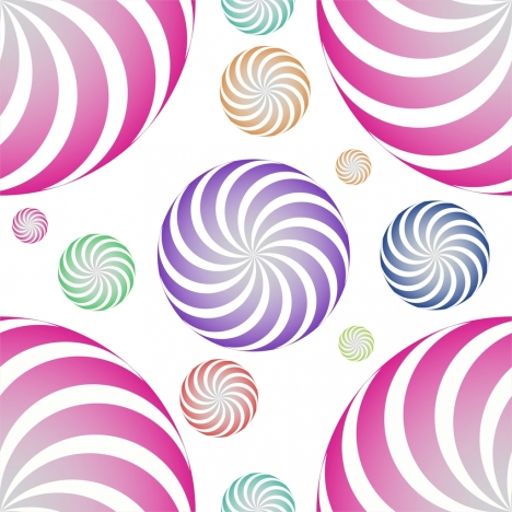 twisted circles background colorful flat decor