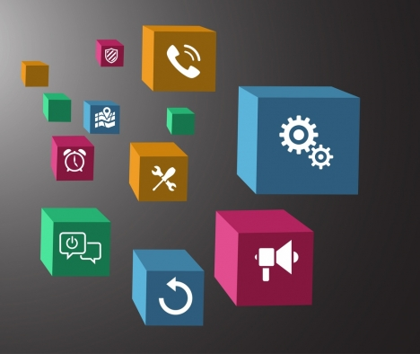 ui icons isolation colorful 3d cubes design