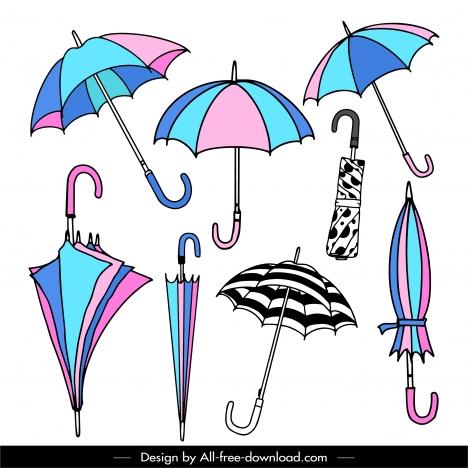 umbrella icons colorful handdrawn sketch