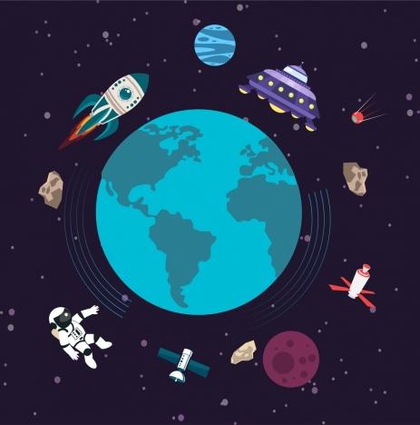 universe background earth ufo spaceship astronaut satellite icons