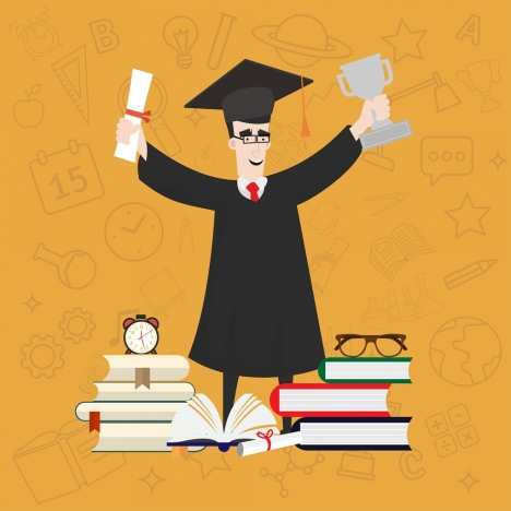 university achievement background graduated student trophy books icons