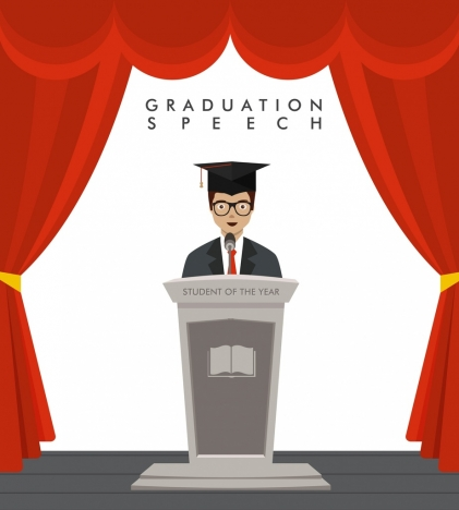 university speech background graduated student icon colored cartoon