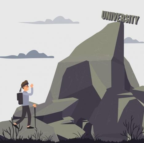 university target drawing male hiker mountain peak icons