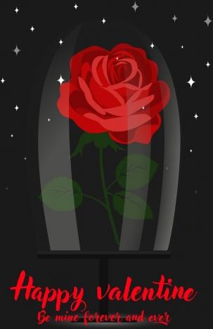 valentine background red rose icon sparkling dark backdrop