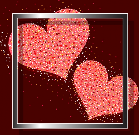 valentine background sparkling hearts icons square decor