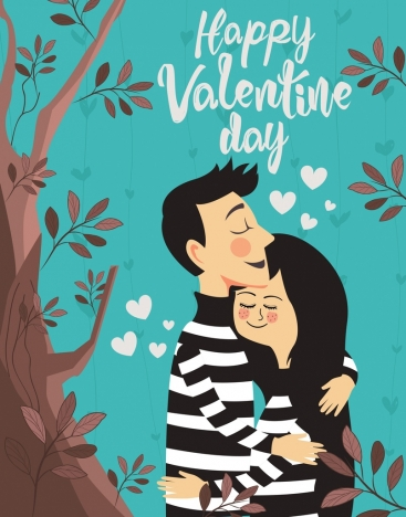 valentine banner romantic love couple heart icons ornament
