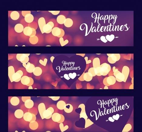 valentine banner templates shiny bokeh hearts decoration