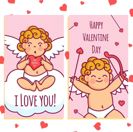 valentine card cover template cute angel hearts decor