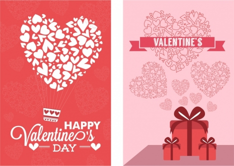Valentine Card Sets Hearts Decoration On Red Background Vectors