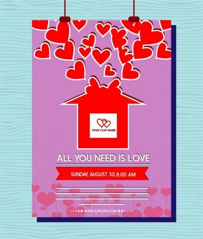 valentines leaflet design hearts decoration on violet background