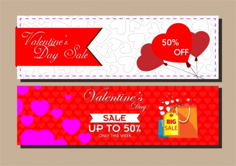 valentines seasonal sales leaflet templates with hearts background