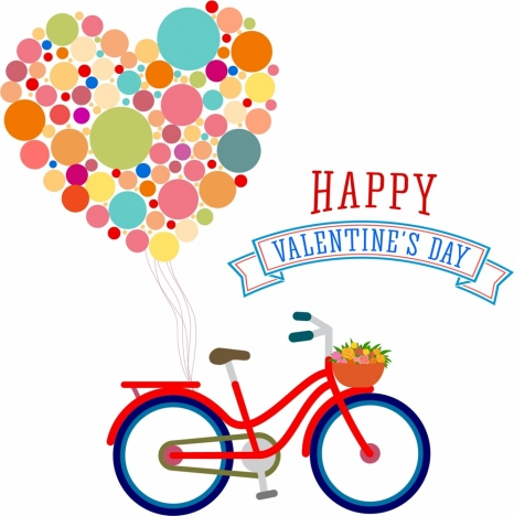 valentnes theme design bicycle and hearts ballon style