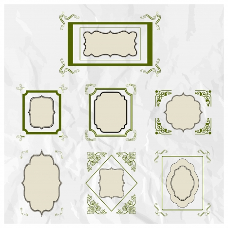 various shaped frames sets collection
