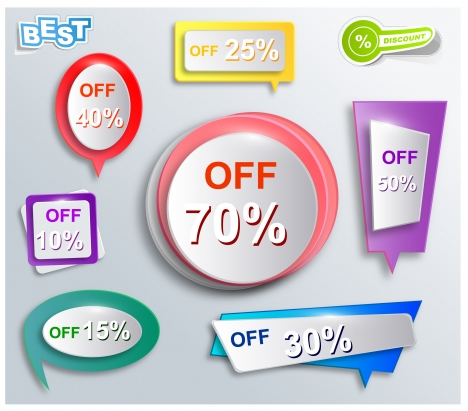 various shapes of 3d sales promotion icons