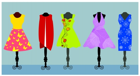 vector fashion illustration of womans dress on hanger